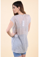 Bluza Dama Only Malou Long Light Grey Melange